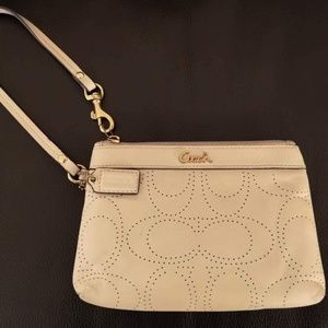 Coach Perforated C (Signature) Leather Wristlet